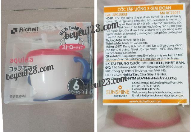 (Màu mới) Cốc Tập uống nước Richell , uống sữa 3 giai đoạn 150ml - Nhật