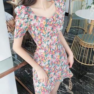 Đầm Hoa Nhún Ngực Đắp Tà