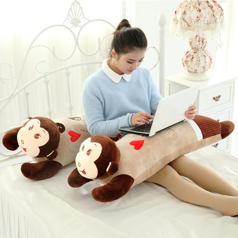 ☽Lying on the monkey holding Pillow plush toy doll dolls big sleeping children birthday gift Girl
