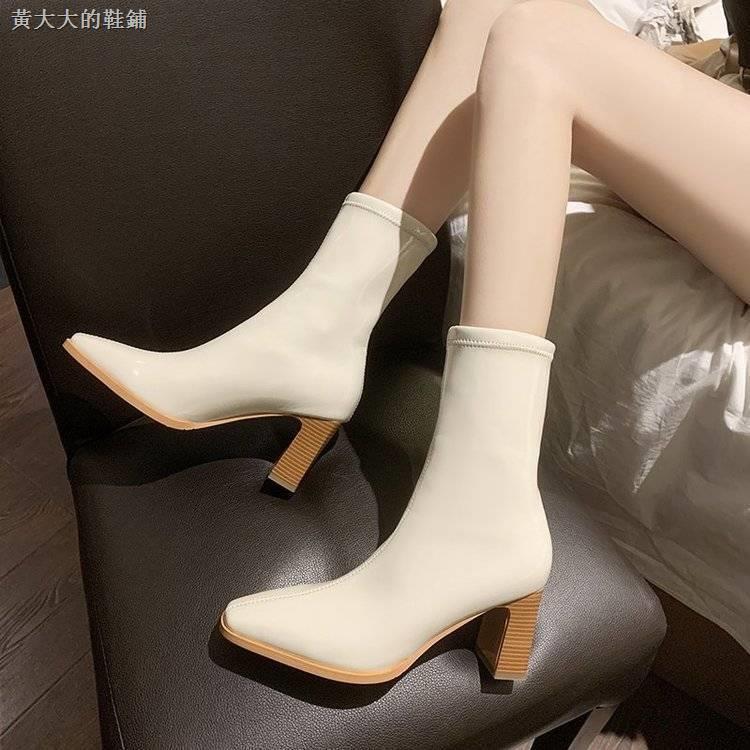 Giày Bốt Mũi Vuông Phối Nhung Dày Thời Trang 2020 Cho Nữ