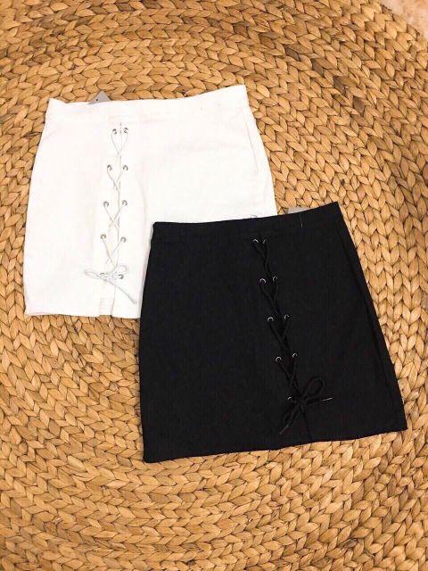 Chân váy kaki đan dây hông kèm quần