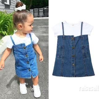 Rs♪-Toddler Kid Baby Girl Clothes Casual Shirt Denim Dress Jean Skirt Outfit*