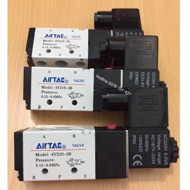 Van điện từ khí nén AIRTAC 4v210-08, van điều khiển xi lanh khí nén, van khí nén solenoid 5/2, van AIRTA