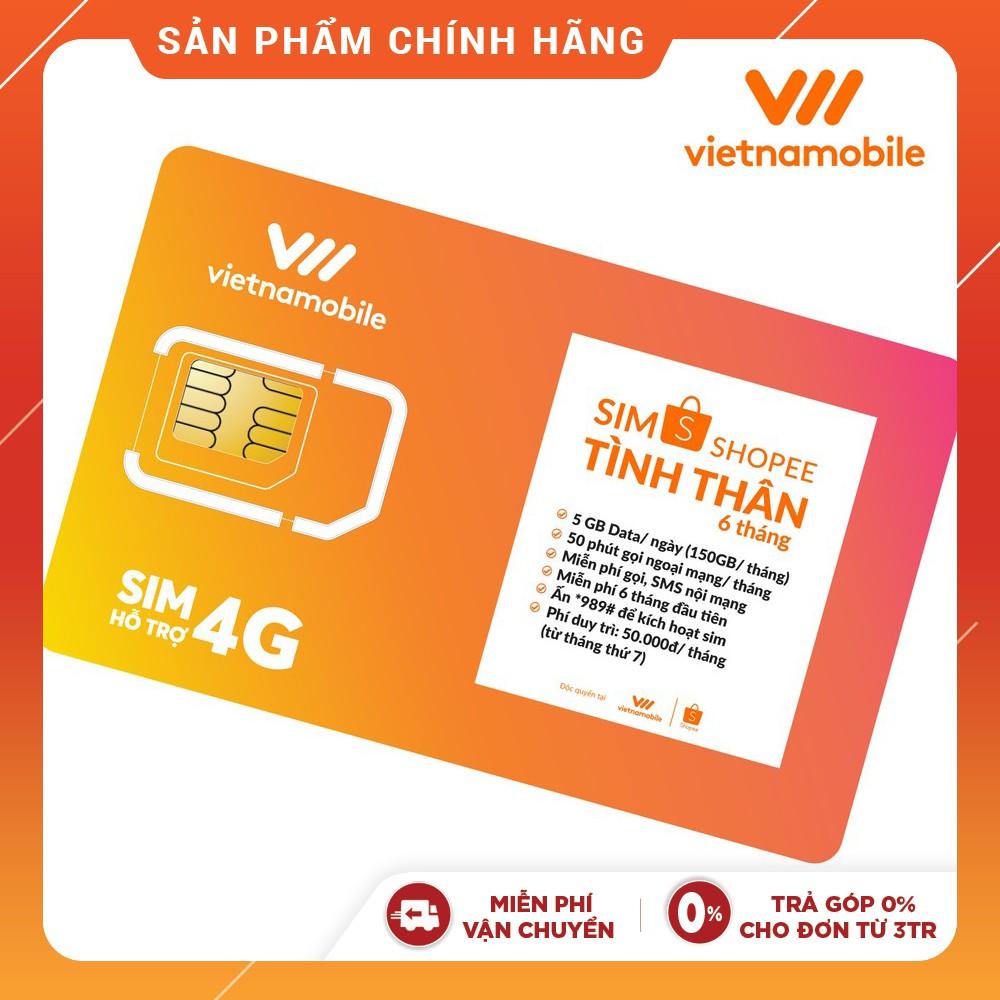 [Mã ELMALLMT giảm 8% đơn 900K][Miễn Phí 6 Tháng] Sim Tình Thân Free Nghe gọi và Data 5GB/ngày Vietnamobile - Shopee