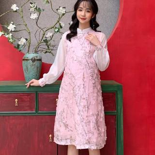 MEDYLA - Váy bầu cách tân tơ hoa nổi cho mẹ bầu diện tết - VS417 thumbnail