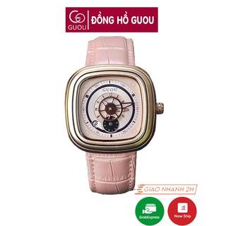 [Mã FASHIONRNK giảm 10K đơn 50K] Đồng hồ nữ Guou chính hãng 8150 mặt vuông dây da kiểu dáng độc đáo thumbnail