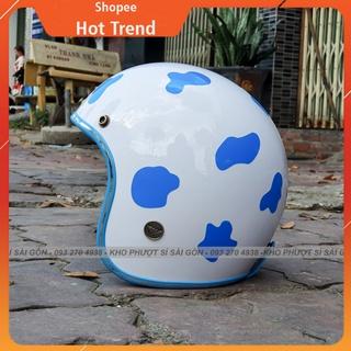 GÍA KHO - Nón mũ bảo hiểm 3 4 bò sữa trắng lót xanh dương đi chơi cho nữ - Nón 3 4 trắng lót xanh bò sữa thumbnail