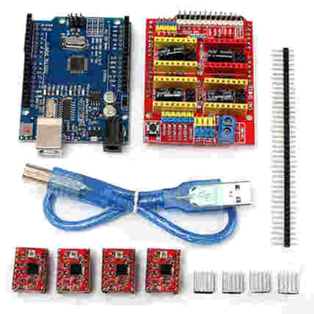 Printers Parts Set With Heatsink UNO R3 CNC Engrave Expansion Board Professional Stepper Motor Driver For Arduino