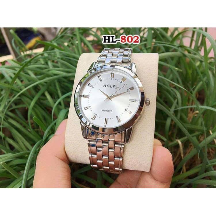 Đồng hồ nam nữ Halei 502 dây trắng đẹp không tì vết