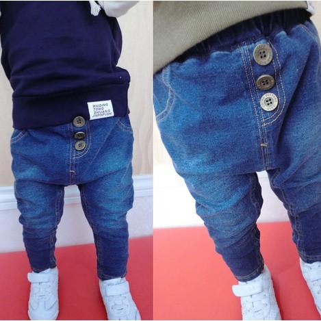 Quần bò jean cho bé thiết kế 3 khuy giả kiểu dáng thời trang