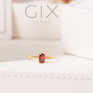 Nhẫn bạc cho nữ mạ vàng đai xoắn đá đỏ đẹp Gix Jewel SPGN15 thumbnail