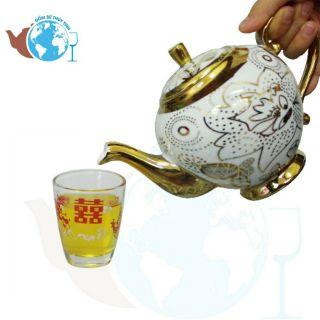 Bộ 12 ly thủy tinh uống trà rồng nhỏ 80ml - 14HBTVP