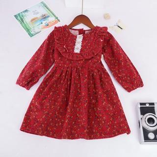 Yêu Thích+Váy Đầm Thu Đông Cho Bé Gái Dáng Xòe Công Chúa,Váy đầm kiểu baby doll vintage hàn quốc dáng xòe họa tiết ren bé gái