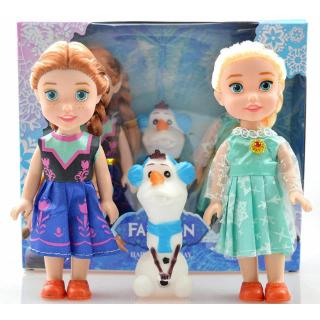 3PCS Birthday Gift Playset Frozen Princess Elsa&Anna Doll Figures Toy