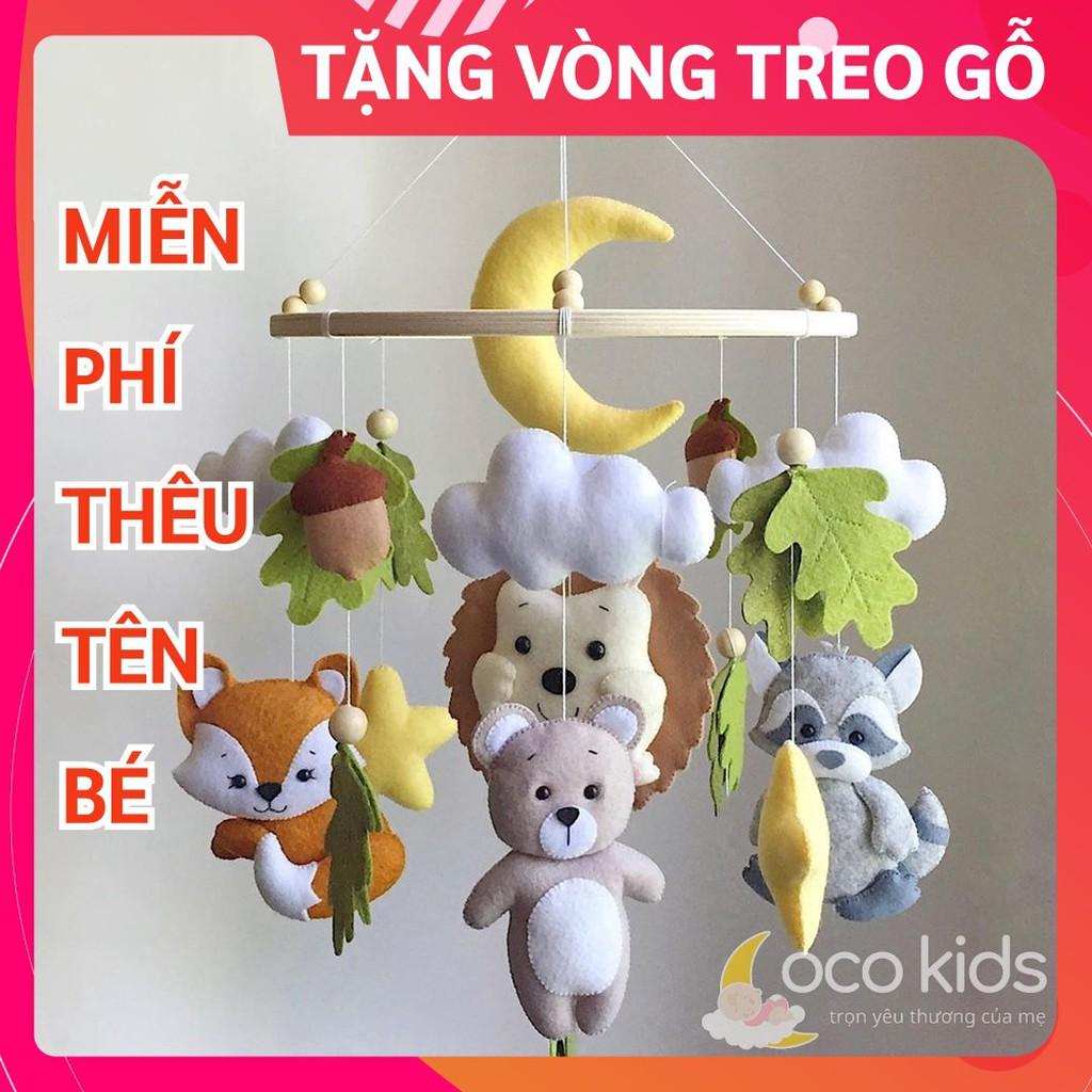 [TẶNG VÒNG TREO + FREE THÊU TÊN BÉ] Đồ chơi treo nôi cũi handmade Coco Kids ảnh thật 100%, tự xoay phát nhạc RỪNG XANH 5