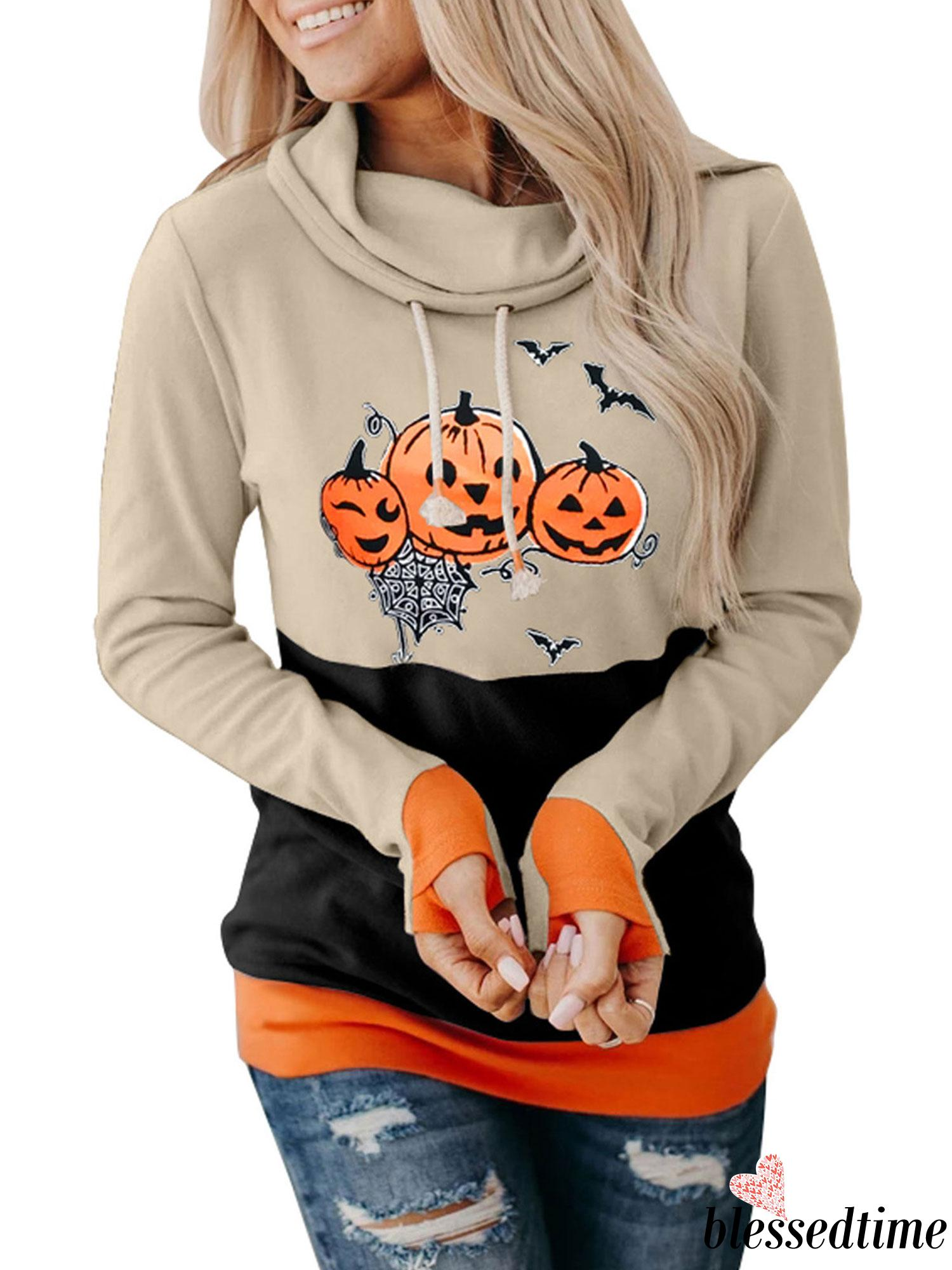 Áo Nữ Tay Dài Họa Tiết Quả Bí Ngô Halloween Cá