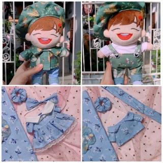 (Ord) Set outfit cho doll 15-20cm. Váy,yếm,mũ
