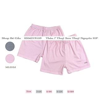 Bộ 2 quần cộc petit kẻ hồng nhạt trắng Nous
