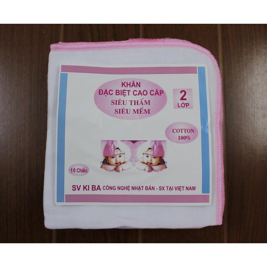 Bộ 10 khăn xô Kiba Verygood 2 lớp siêu thấm , siêu mềm