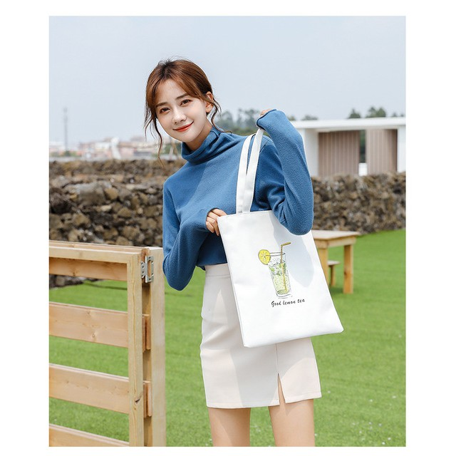 [Tặng quà] Túi Tote Nữ Túi Vải Ullzang, Hàn Quốc, Giá Rẻ Đeo Vai Đi Học, Đi Làm, Đi Chơi Yola shop TUIV.001