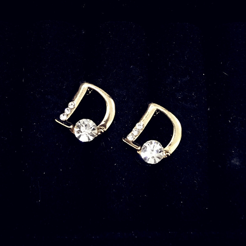 Bông tai chữ D đính đá Zircon thanh lịch cho nữ