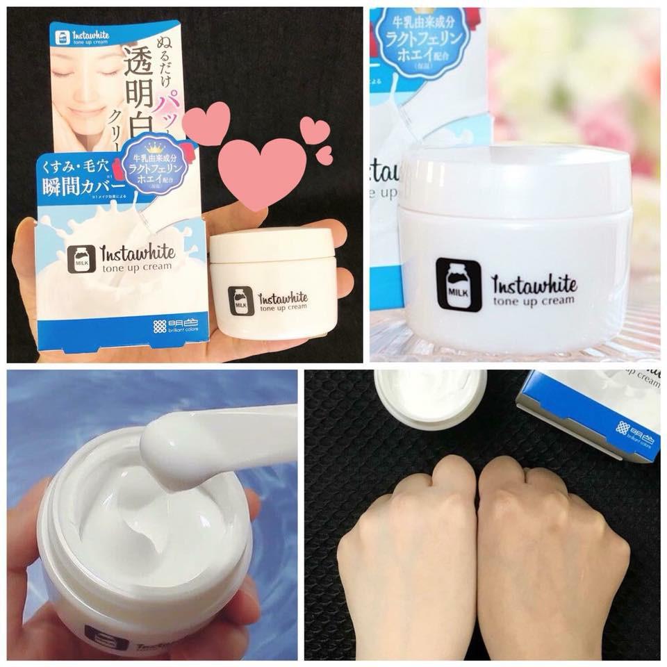 Kết quả hình ảnh cho Kem dưỡng trắng da Instawhite tone up cream Meishoku 50g