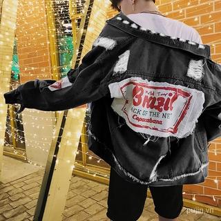 Men's Denim Jacket Slim-Fit Top Denim Jacket Hong Kong Style Denim Jacket Loose Harajuku for Male StudentsBFMain Korean Ripped Jacket on Clothes xFWj