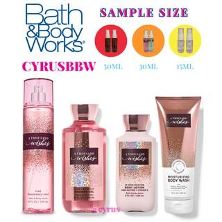 Bộ Sản Phẩm Mist Xịt Toàn Thân, Gel Tắm, Lotion Bath & Body Works A Thousand Wishes Từ Mỹ