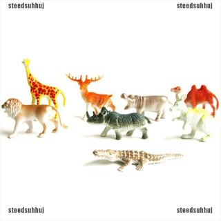 (SSJ+COD)8PCS Plastic Zoo Animal Figure Tiger Leopard Hippo Giraffe Kids Animal