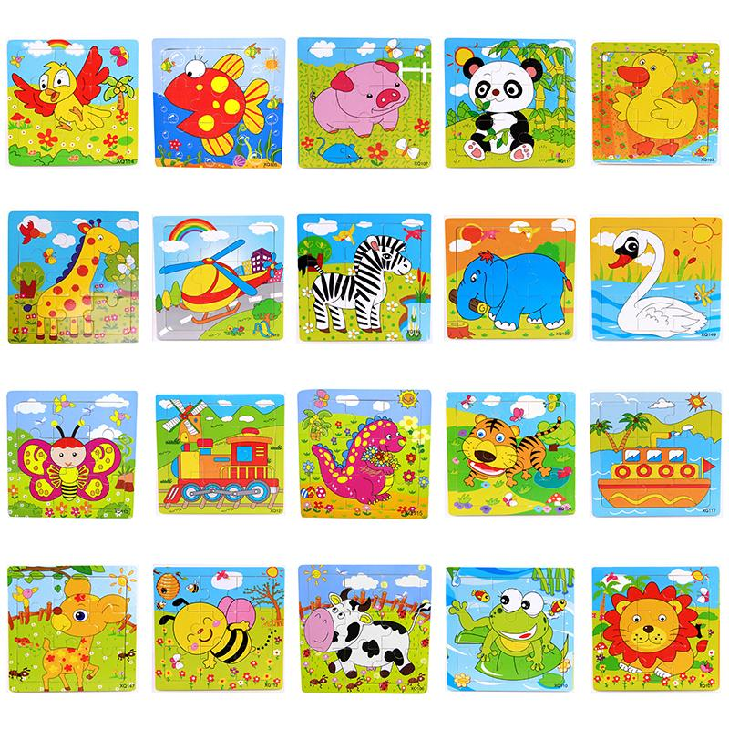 BF*Cute Cartoon Animal Wooden Puzzle Jigsaw Kids Educational Baby Toys
