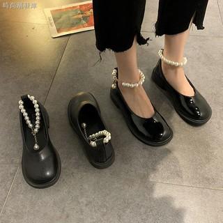 Giày Da Bóng Phối Khóa Đính Ngọc Trai Thời Trang Mùa Xuân Cho Nữ 2021