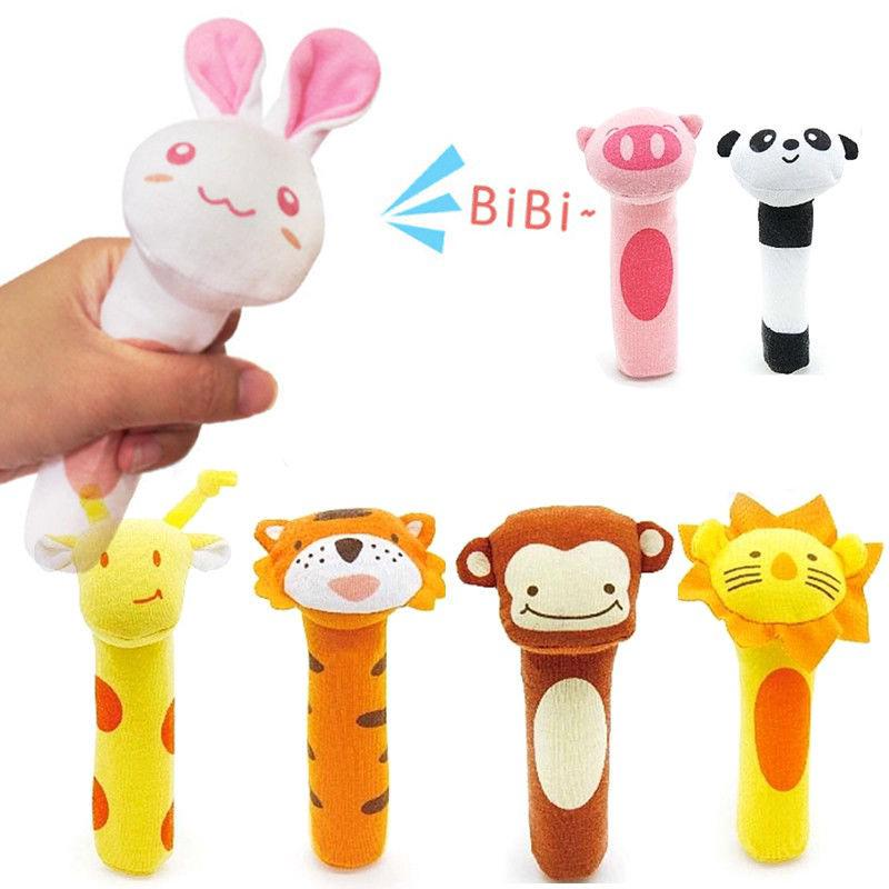 Baby Animal Shaped Catoon Hand Bell Ring Rattles Kid Plush Soft Toy