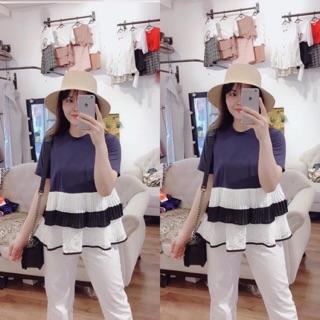 Áo babydoll phối ren trắng