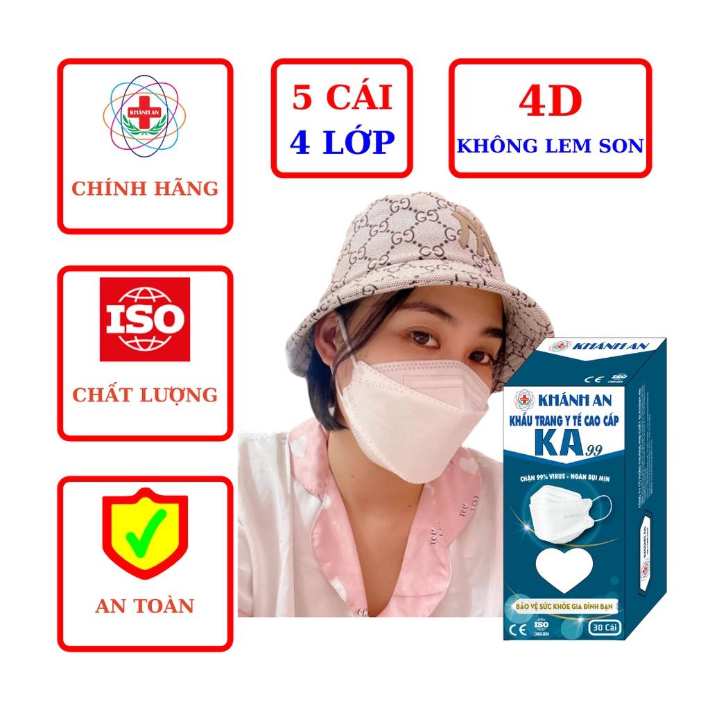 Set 5 cái Khẩu trang y tế 4D Khánh An KA99 ngăn vi khuẩn 99% ôm sát khuôn mặt không lem son và rất dễ thở