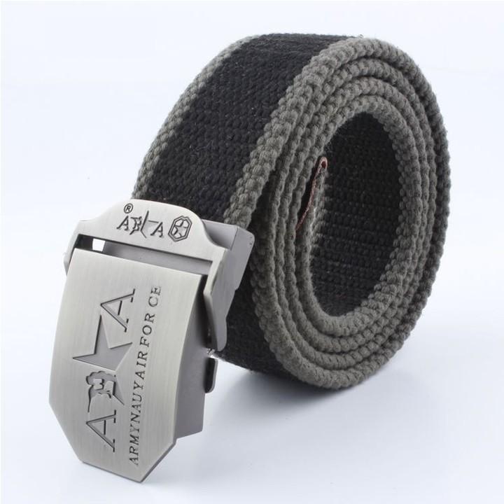 Thắt lưng vải bố khóa bằng kim loại FA2S551 (Đen Viền Xám)