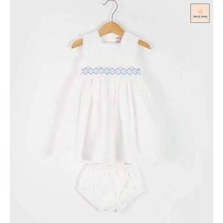 Đầm smock trắng J&J xuất Âu