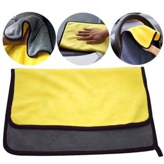 Khăn lau xe hơi, ô tô 2 lớp màu vàng cao cấp siêu sạch siêu thấm hút -Qcar Store 2