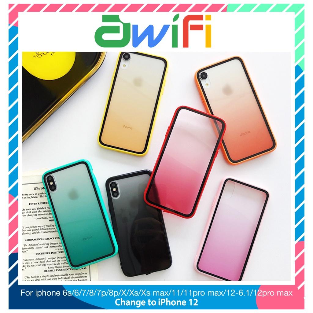 Ốp lưng iphone mica viền màu 5/5s/6/6plus/6s/6splus/7/7plus/8/8plus/x/xr/xs/11/12/pro/max/plus/promax - Awifi Case E4-3