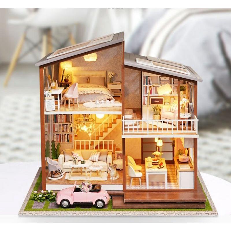 Mô hình gỗ nhà búp bê Slow Time (mica, keo, cót nhạc, chó sứ xe hơi sứ