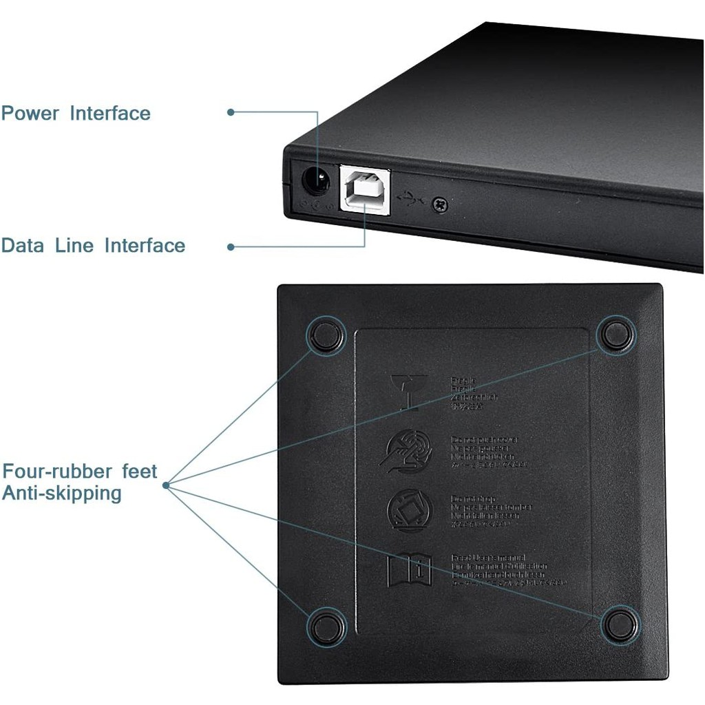 Ổ CD DVD bên ngoài, Ổ CD-RW bên ngoài di động mỏng USB 2.0, Đầu ghi DVD-RW Burner Writer, dành cho máy tính xách tay Máy tính xách tay Máy tính để bàn PC, Ổ cứng gắn ngoài