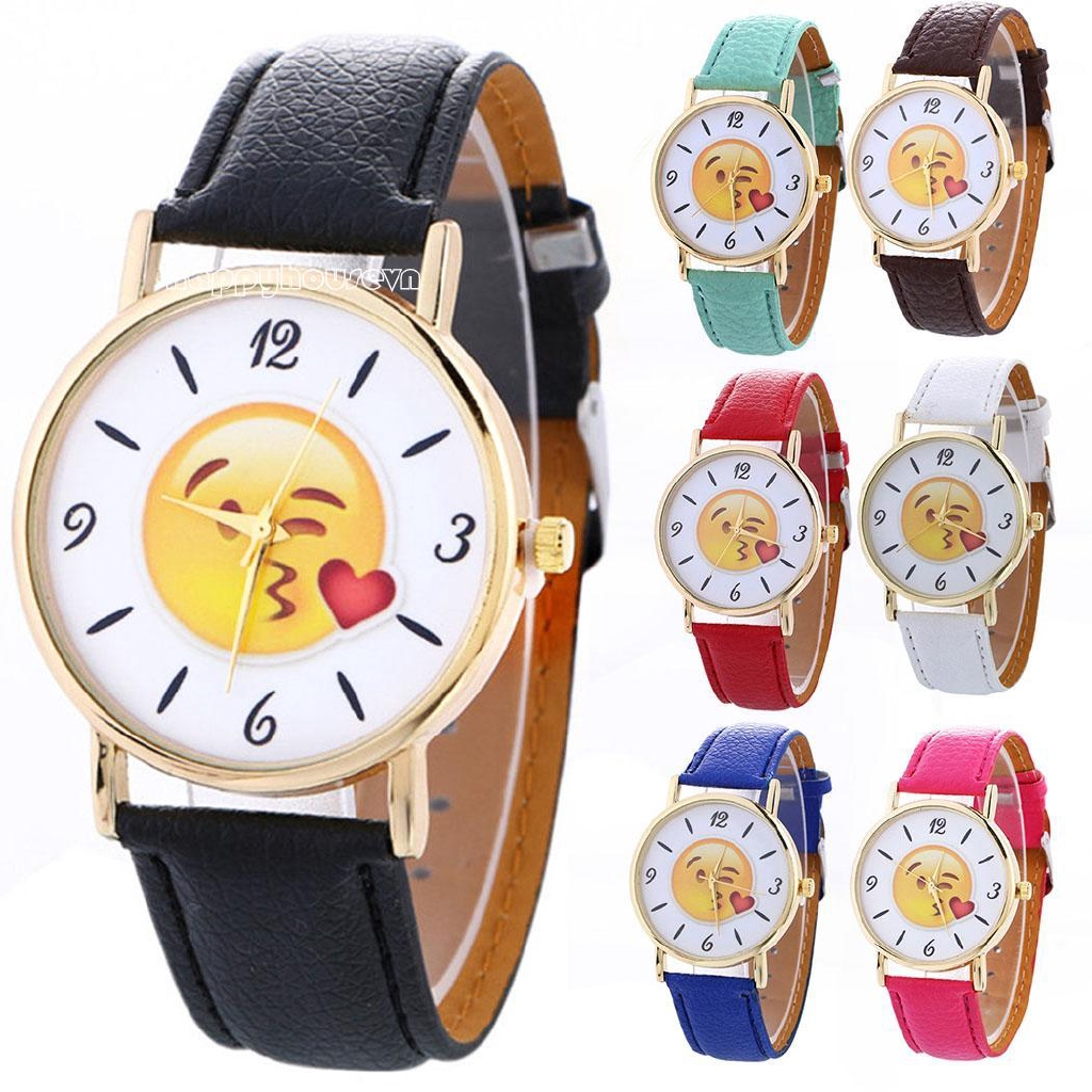 ha New Women Fashion Synthetic Leather Band Round Analog Quartz Wrist Watch Bracelet Bangle