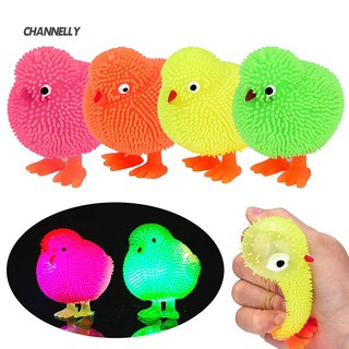 ■Cy Chickens Squidgy LED Flashing Puffer Ball Squeeze Stress Relieve Kid Toy