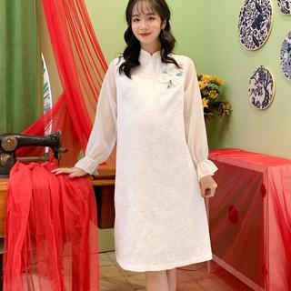 MEDYLA - Váy bầu cách tân Gấm hoa cao cấp cho mẹ bầu diện tết - VS412 thumbnail