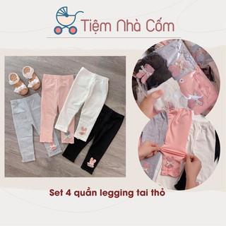 Set 4 quần legging tai thỏ đáng yêu cho bé gái