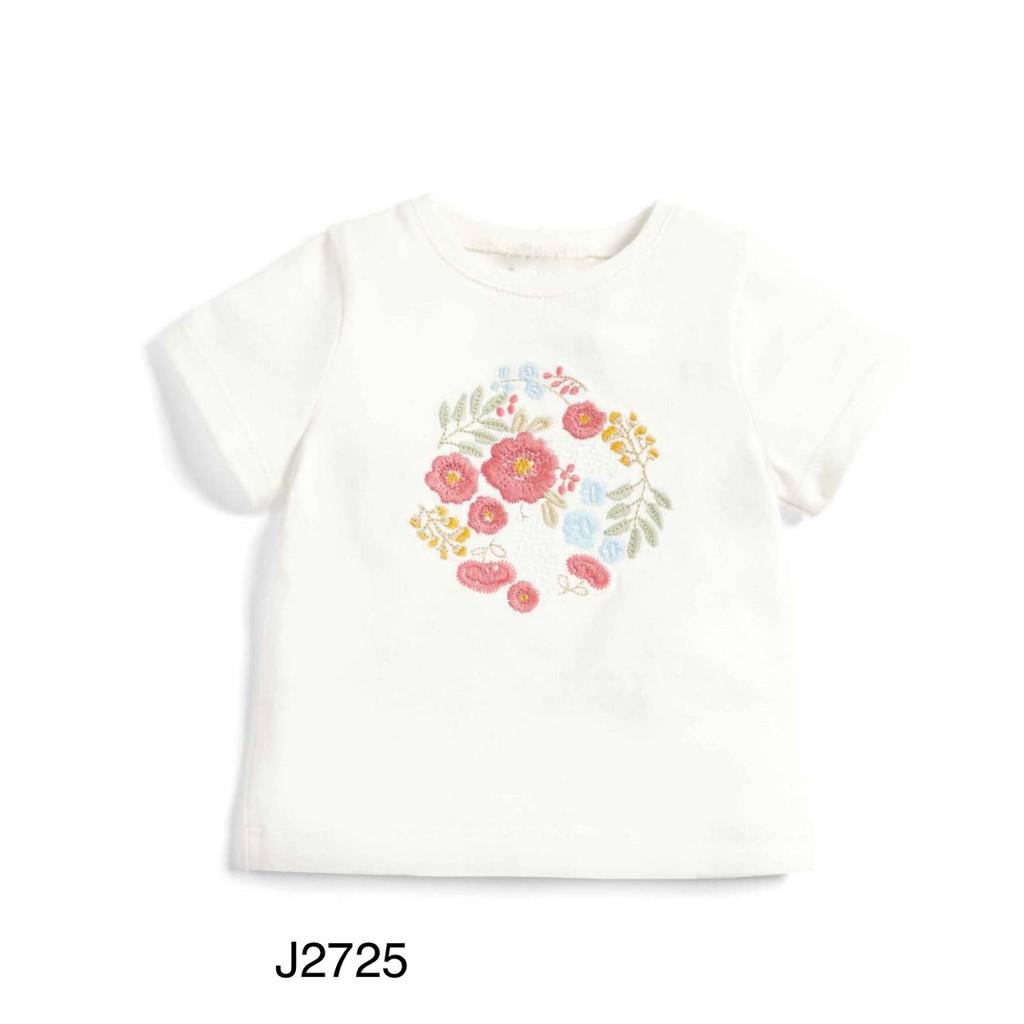Áo Thun Cộc Tay Jumpingbear in hình trắng thêu hoa