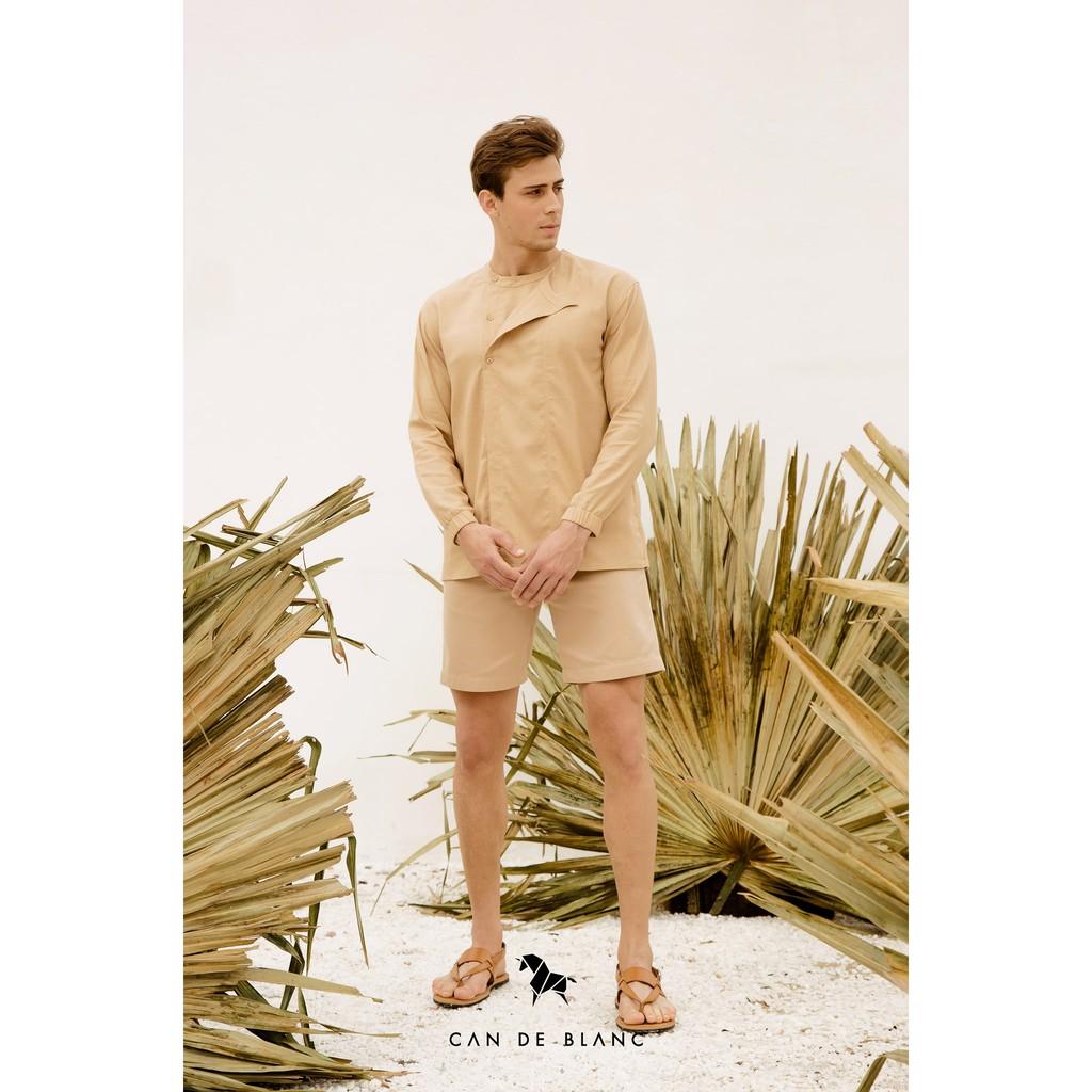 [Mã CDBLANC60K giảm 15% tối đa 60K đơn từ 500K] Neckless Long Sleeves Shirt/ Áo nam màu beige cổ tròn Can De Blanc