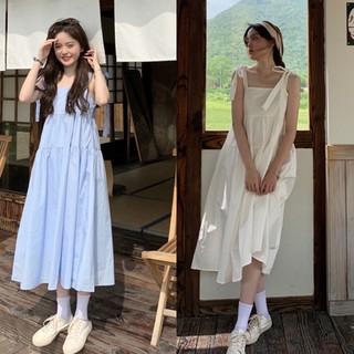 Váy 2 dây buộc nơ vai bản to – Đầm babydoll 2 dây thô thắt nơ 4 màu