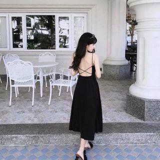 [ QUÁ RẺ ] [ QUÁ ĐẸP ] Đầm maxi đen chéo lưng sang trọng ⚡HÀNG SẴN ⚡CÓ VIDEO THẬT ⚡CAM KẾT ĐẸP quá xynh như hình