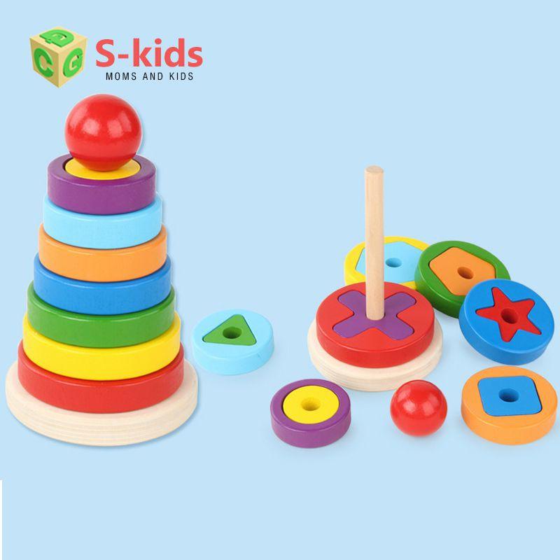 [Mã TOY1010 giảm 15% đơn 99K] Đồ chơi gỗ - Tháp xếp chồng 1 trụ lồng khối, Đồ chơi giáo...