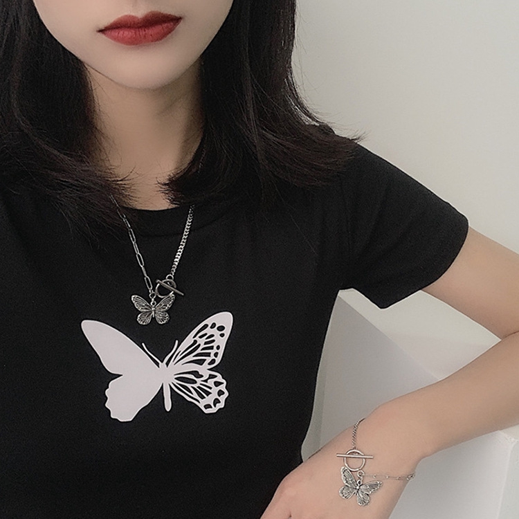 Korean retro butterfly necklace ins